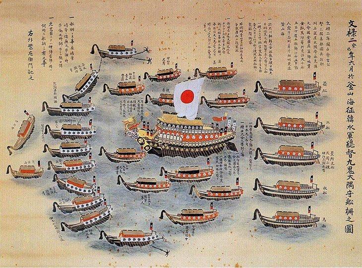 Premier exemple du drapeau du Japon actuel, en 1594
