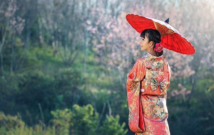 Femme japonaise en kimono