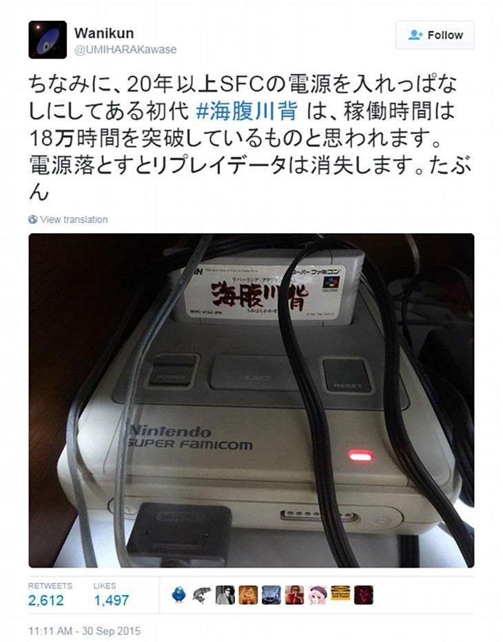 Tweet sur la Super Nintendo qui est resté allumée pendant 20 ans