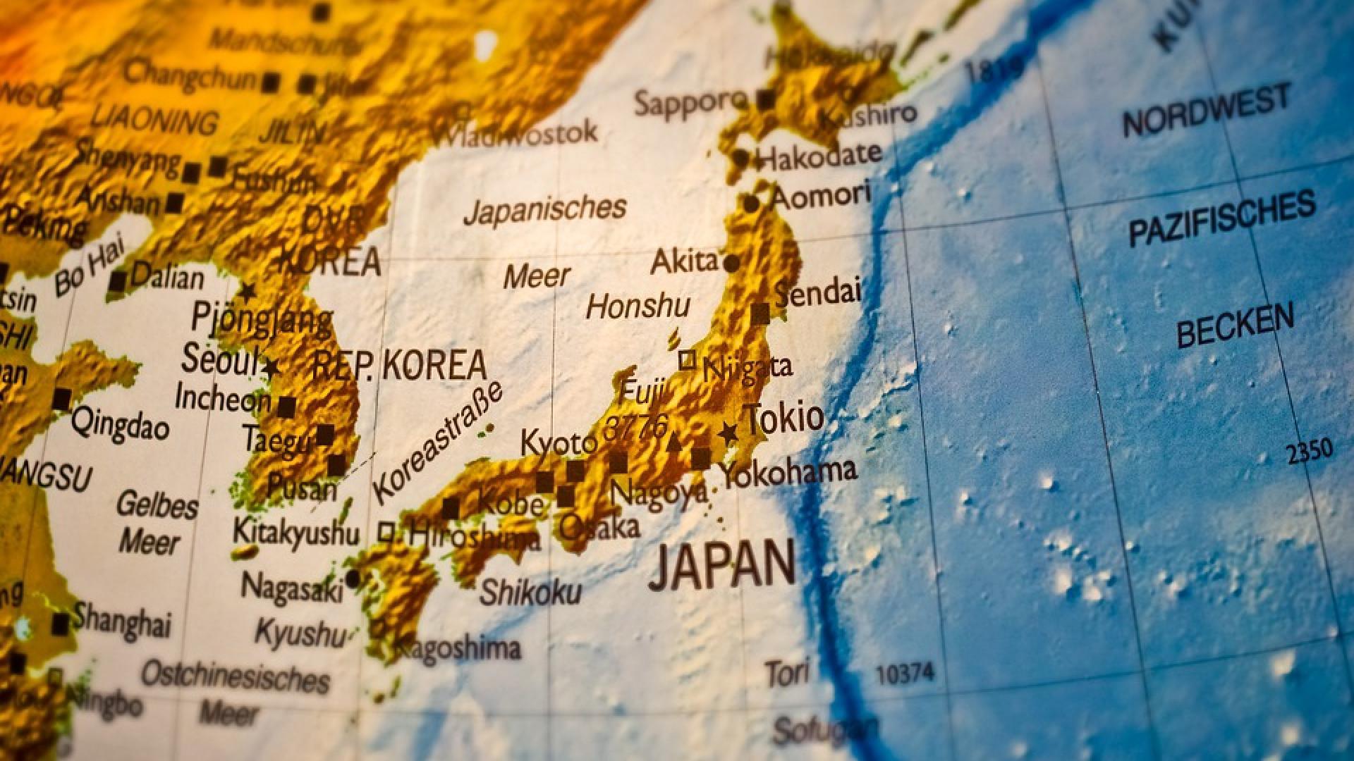 Carte du Japon et de la Coree du Nord