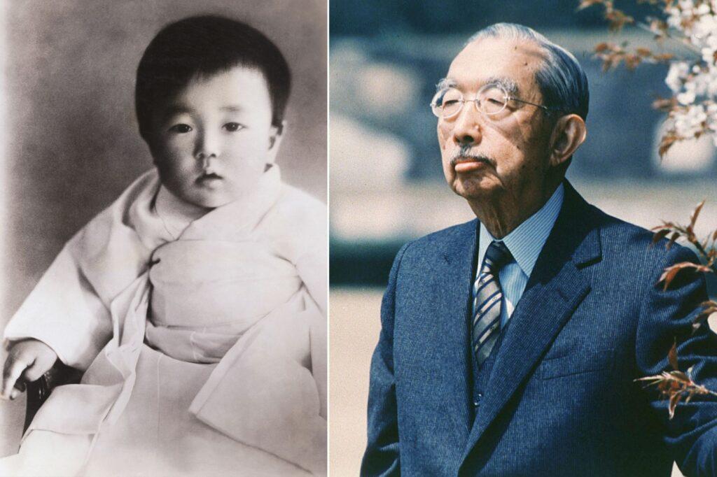 Hirohito, l'un des nombreux empereurs japonais, lorsqu'il était jeune et à la fin de sa vie