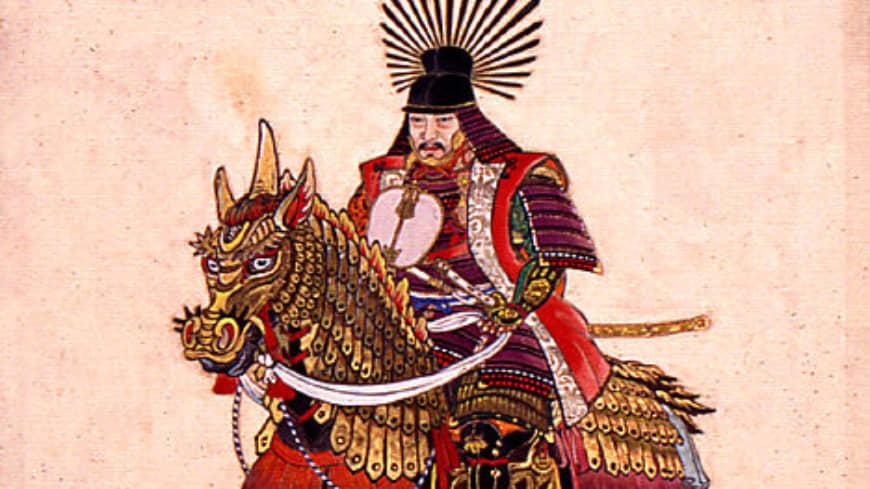 Toyotomi Hideyoshi représenté en cavalier